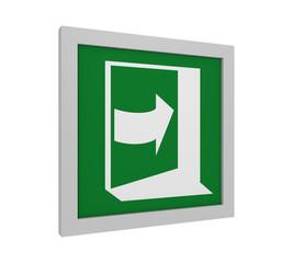 Rettungszeichen (Tür öffnen durch drücken auf der rechten Seite) nach ASR (A1.3) / ISO. Seitenansicht, 3d Render