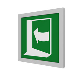 Rettungszeichen (Tür öffnen durch drücken auf der linken Seite) nach ASR (A1.3) / ISO. Seitenansicht, 3d Render