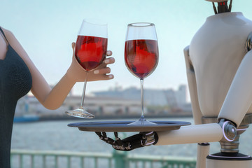 A woman gets served wine by a robot (3d rendering)