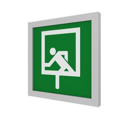 Rettungszeichen (Notausstieg) nach ASR (A1.3) / ISO. Seitenansicht, 3d Render