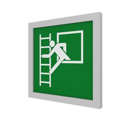 Rettungszeichen (Notausstieg mit Fluchtleiter) nach ASR (A1.3) / ISO. Seitenansicht, 3d Render