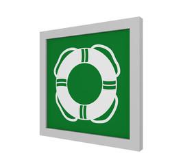 Rettungszeichen (öffentliche Rettungsausrüstung) nach ASR (A1.3) / ISO. Seitenansicht, 3d Render