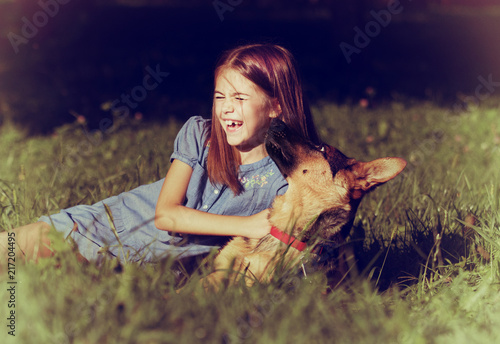Puppy Kissing Smiling Girl Stock Photo And Royalty Free Images On