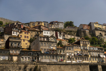 Porto, Portugal. Panoramic view of colorful old houses of Porto, Portugal