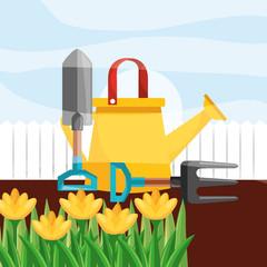 watering can shovel fork yellow flowers gardening vector illustration