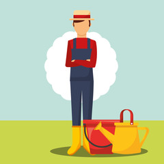 gardener folded arms with bucket and watering can vector illustration