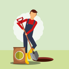 gardener digging hole with shovel vector illustration