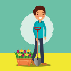 man cartoon holding shovel and potted flowers gardening vector illustration