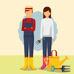 gardeners man and woman with watering can and forks vector illustration
