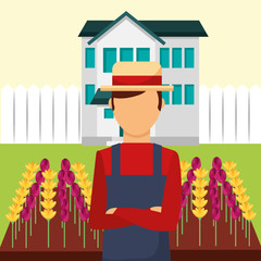 gardener man in the house flowers garden vector illustration