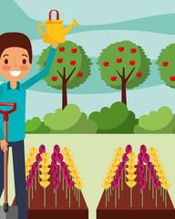man cartoon watering flowers with shovel gardening vector illustration