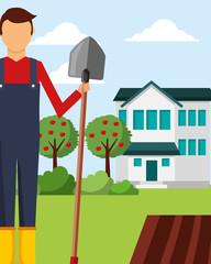 gardener man holds shovel apple trees and house gardening vector illustration