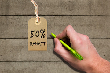 "Hangtag mit ""50% Rabatt"" Aufschrift"