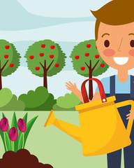 little boy watering tulips flowers gardening vector illustration