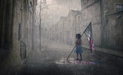American flag fading away