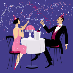 Couple dressed in 1920 fashion sitting at the table in a nightclub, having champagne and celebrating Christmas, new year or a birthday, EPS 8 vector illustration