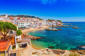 Self adhesive Wall Murals Barcelona Sea landscape with Calella de Palafrugell, Catalonia, Spain near of Barcelona. Scenic fisherman village with nice sand beach and clear blue water in nice bay. Famous tourist destination in Costa Brava