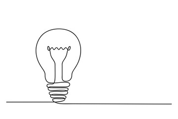 Continuous one line drawing of electric light bulb. Concept of idea emergence. Vector illustration.