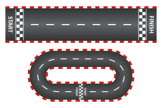 Racing track, top view of asphalt roads set, kart race with start and finish line. Vector illustration.