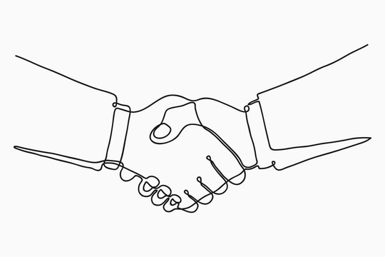 Continuous line drawing of handshake. Handshaking of business partners drawn by one single line. Vector illustration.
