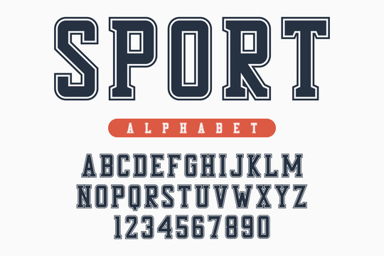 Sport font, original college alphabet. Athletic style letters and numbers for sportswear, t-shirt, university logo. Retro varsity typeface. Vector illustration.