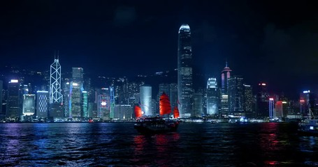 Fototapete - Hong Kong at night, Victoria Harbor