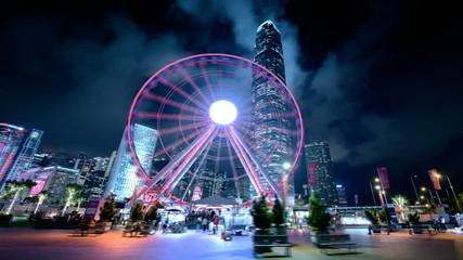 Fototapete - hyper lapse, Observation Wheel, Hong Kong