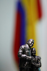 A statue of Venezuela's late President Hugo Chavez is seen at the office of National Constituent Assembly member Hermann Escarra during his interview with Reuters in Caracas