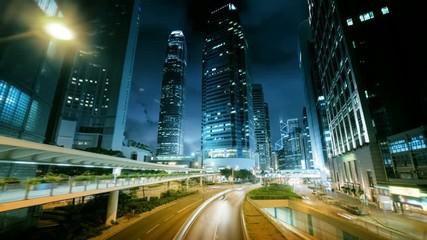 Foto En Lienzo - hyper lapse, traffic in Hong Kong at sunset time,  ultra wide lens