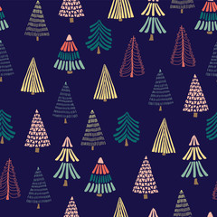 Doodle Christmas trees on a dark blue background. Seamless vector pattern. Modern geometric Christmas print. Great for christmas - Perfect for holiday cards, wrapping paper, and fabric.