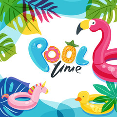 Swimming pool time. Flamingo, duck and unicorn float kids toys. Beach party vector poster, flyer, banner design template