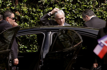 Chile's President Sebastian Pinera arrives to a welcoming ceremony at the Presidential house in San Jose