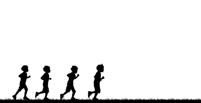 Silhouette boys  running  on white background
