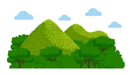 Chocolate Hills in the Philippines. Vector colorful illustration.