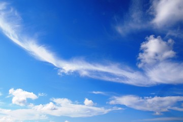Full frame abstract white clouds over clear blue summer skies