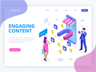Isometric web banner with Engaging Content, Content Marketing Success, Marketing Mix. Social influencer. Social media sharing