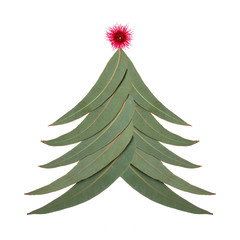 An Aussie Christmas tree made up of Australian gum tree leaves with a small red gum nut blossom as the star