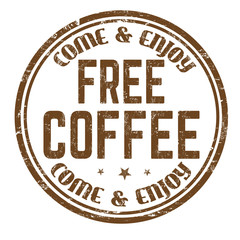 Free coffee sign or stamp