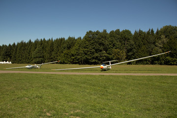 Sailplane on a natural airfield waiting for start