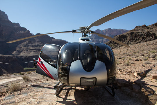 A modern helicopter for tourists waiting for lift-off in the Grand Canyon, Nevada