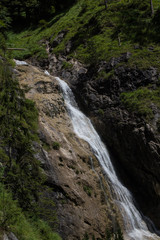 Natural waterfall in the Bavarian Alps in Germany near Reit im Winkl