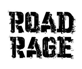 Road rage typographic stamp