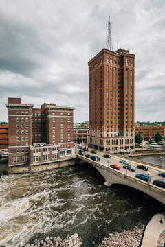 The Fox River and buildings in downtown Aurora, Illinois