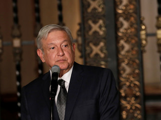 Mexico's incoming president Andres Manuel Lopez Obrador makes declarations to the media after a meeting with President Enrique Pena Nieto at National Palace in Mexico City