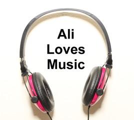 Ali Loves Music Headphone Graphic Original Design