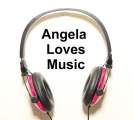 Angela Loves Music Headphone Graphic Original Design