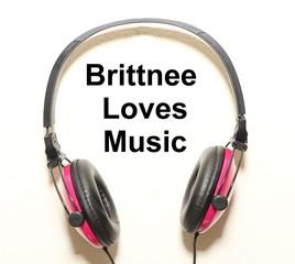 Brittnee Loves Music Headphone Graphic Original Design
