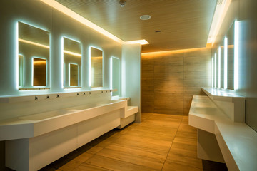 Modern design of public toilet and restroom.