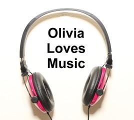 Olivia Loves Music Headphone Graphic Original Design