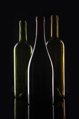 wine bottle silhouette on the black